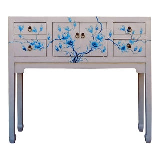 Chinese Oriental Off White Blue Flowers Narrow Slim Table
