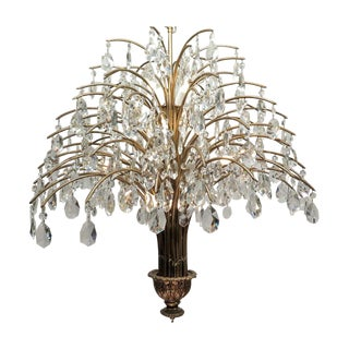 Vintage Mid Century Palm Spray Crystal Chandelier