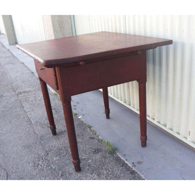 18thc Original Red Lift Top Tavern Table With Original Drawer - Image 5 of 10