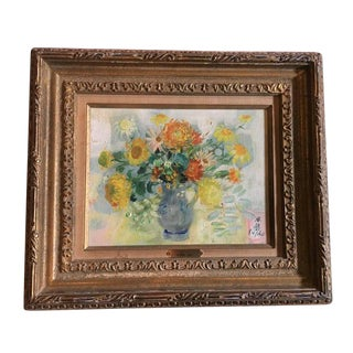 """Le Pho """"Flowers in a Blue Vase"""" Oil on Canvas Painting"""