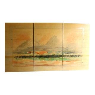 Large Scale Oil on Canvas Impressionist Landscape Triptic by Robert Savoie