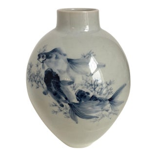 Blue & White Asian Vase With Koi