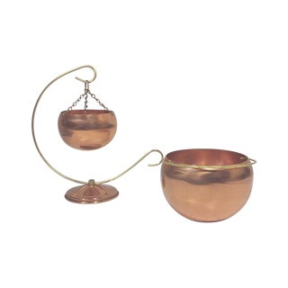 Miniature Copper Flower Pots - Pair