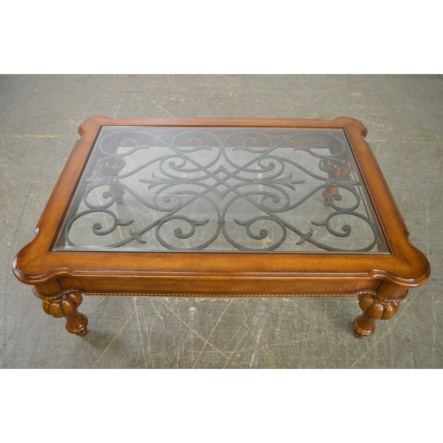 Ethan Allen New Country Coffee Table: Ethan Allen French Country Style Glass & Scrolled Iron Top