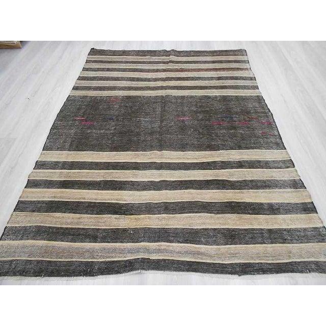 Vintage Turkish Kilim Black & Silver Gray Striped