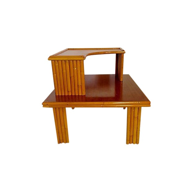 Paul Frankl Style 2-Tier Rattan Table - Image 1 of 7
