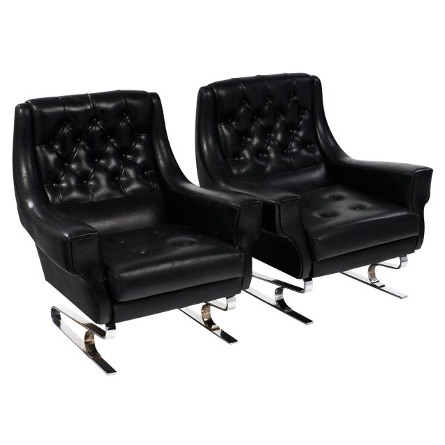 Pair of Vintage French Mid-Century Modern Armchairs - Image 1 of 10
