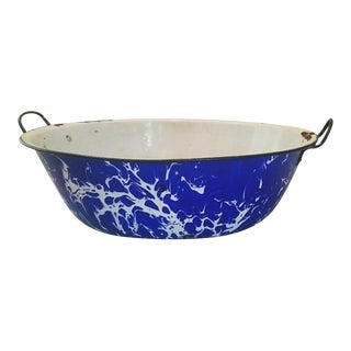 Vintage Blue and White Graniteware Serving Bowl