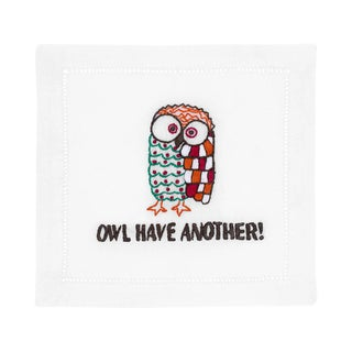 Owl Linen Embroidered Cocktail Napkins - Set of 4