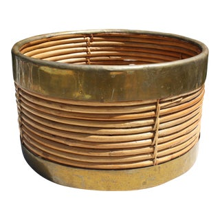 Vintage Pencil Reed & Brass Coiled Planter