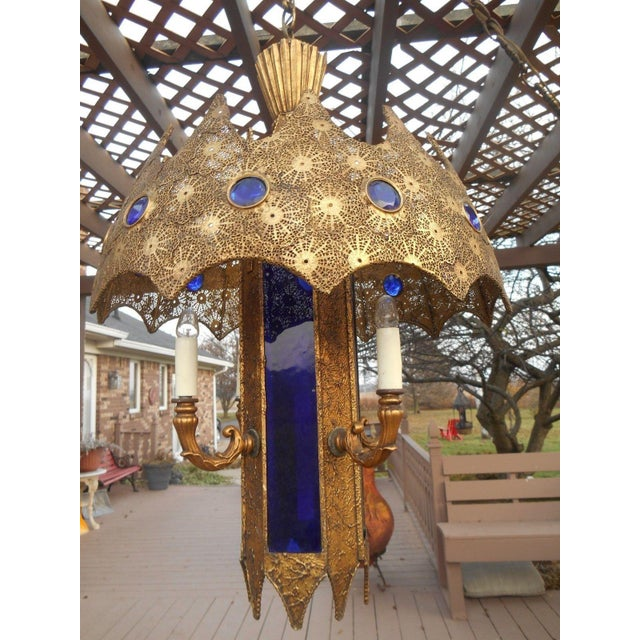 Gothic Style Pierced Metal & Cobalt Hanging Lamp - Image 2 of 6