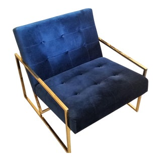 Jonathan Adler Goldfinger Blue Velvet & Brass Lounge Chair