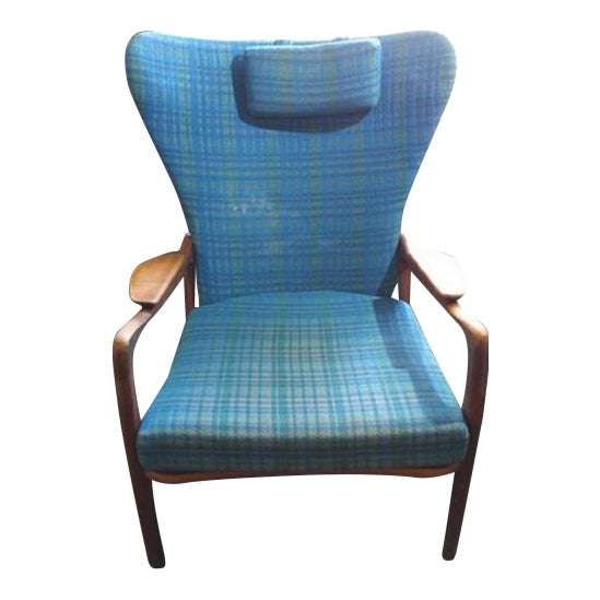 Mid-Century Modern Blue Wingback - Image 1 of 4