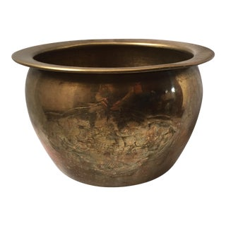 Etched Brass Planter Pot