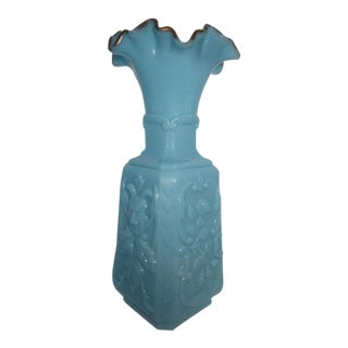 French Portieux Vallerysthal Depose Blue Milk Glass Vase