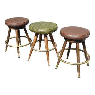Brown & Green Vinyl Swivel Bar Stools - Set of 3