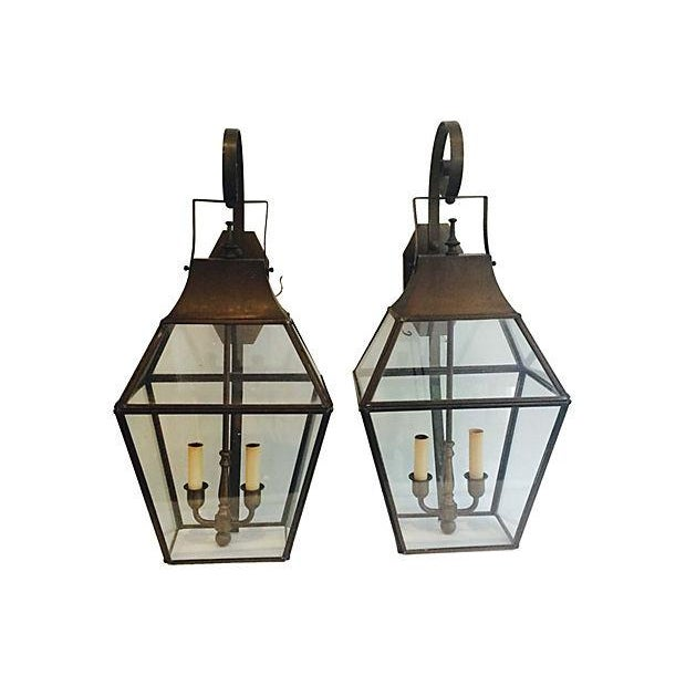Brass Outdoor French-Style Lanterns - A Pair - Image 4 of 4
