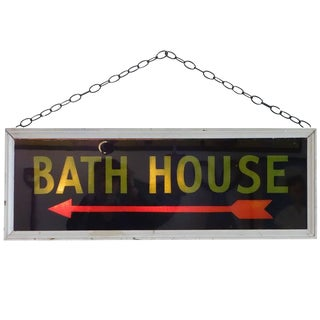 "Illuminated Reverse Painted ""Bath House"" Sign, circa 1950"