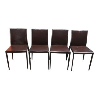 Vintage Room & Board Brown Vinyl Dining Chairs - Set of 4