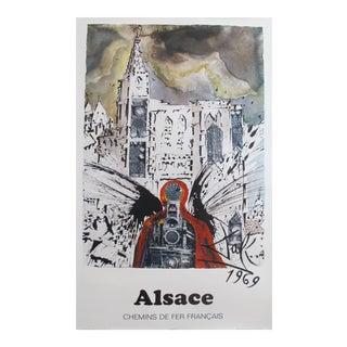 Vintage 1969 French Travel Poster, Salvador Dali, Alsace