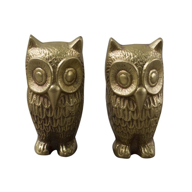 Brass Plated Owl Figurines - A Pair - Image 1 of 7