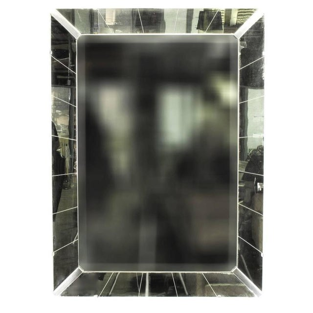 Image of Tall Reverse Striated and Mirrored Frame Art Deco Mirror