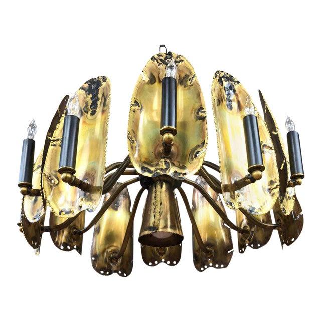 Tom Greene for Feldman Brutalist Brass Chandelier - Image 1 of 9