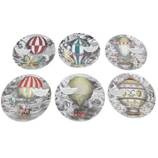 Fornasetti Ceramic Hot Air Balloon Plates- Set of 6