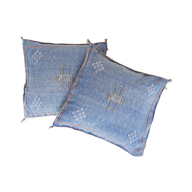Blue & Yellow Moroccan Cactus Pillows - A Pair - Image 1 of 7