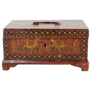 Painted Decorated Anglo Indian Box with Elephants