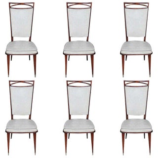 Set of Six French Art Deco Mahogany Dining Chairs, circa 1940s