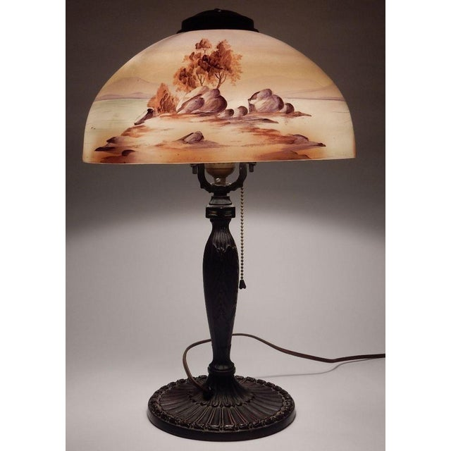 Antique Signed Pittsburgh Electric Reverse Painted Table Lamp - Image 4 of 11
