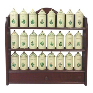 Lenox Porcelain Spice Jars with Wall Spice Rack - Set of 24