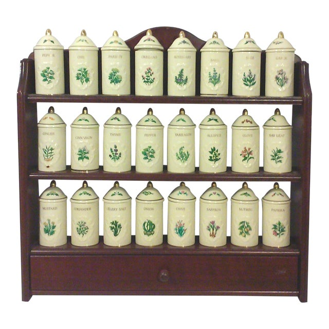 Lenox Porcelain Spice Jars with Wall Spice Rack - Set of 24 - Image 1 of 7