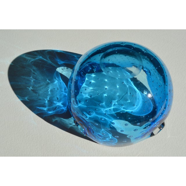 Image of Alfredo Barbini Murano Dimpled Blue Bowl