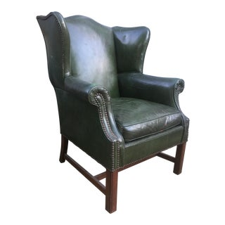 Vintage Distressed Leather Wing Chair