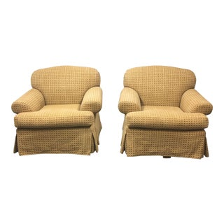 A. Rudin Custom Upholstered Swivel Chairs- A Pair