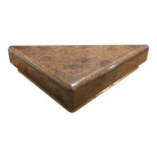 Devin Triangular Faux Burl Wood Coffee Table