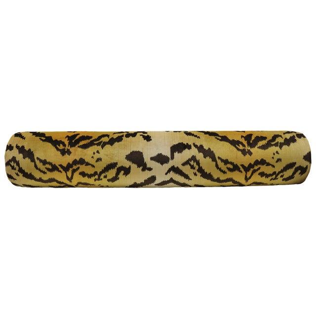 """48"""" Scalamandre Le Tigre Silk Velvet Bolster - Image 1 of 4"""