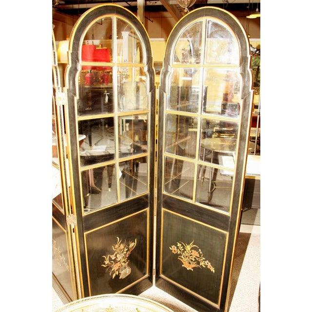 Jansen 3-Panel Chinoiserie Glass Screen - Image 7 of 9