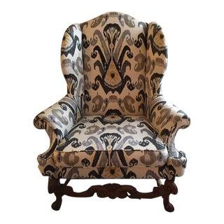Antique Boho Ikat Wingback Chair