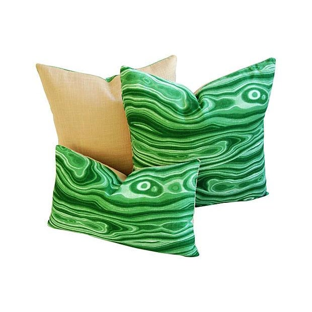 Custom Designer Emerald Malachite Pillows - Set 3 - Image 3 of 6