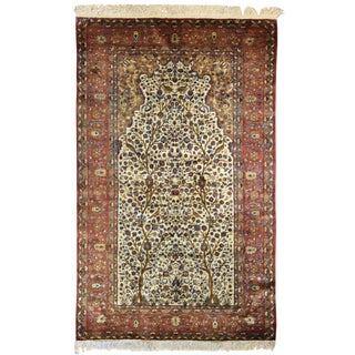 Antique Persian Kashan Silk Meditation Rug