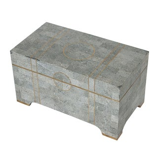 Maitland Smith Gray Tessellated Stone Box Trunk