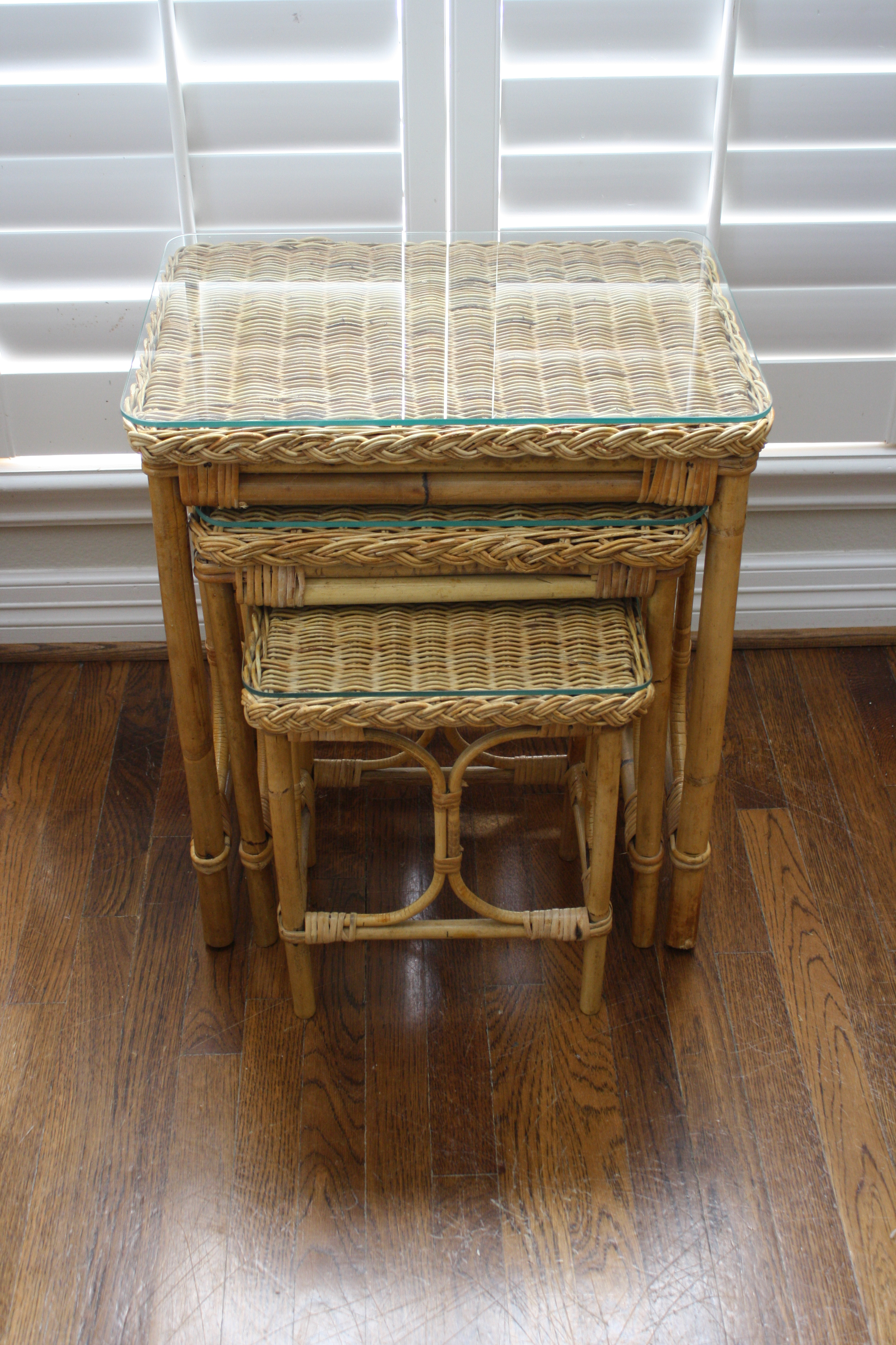 Vintage Bamboo U0026 Rattan Nesting Tables   Set Of 3   Image 2 ...