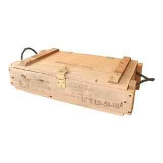 Vintage Industrial Military Wood Ammo Box