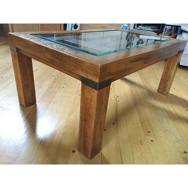Drexel Heritage Coffee Table With Beveled Glass - Image 2 of 7