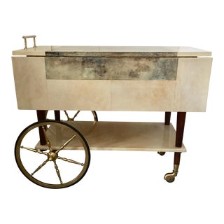 Vintage Aldo Tura Goatskin Serving Cart