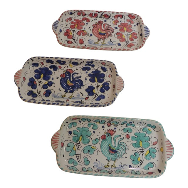 Hand Painted Ceramic Serving Dishes Set of (3) - Image 1 of 6