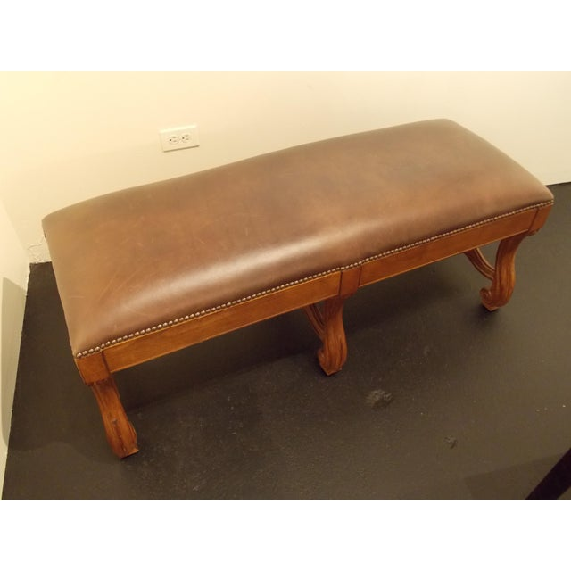 Wood and Leather Bench - Image 3 of 8